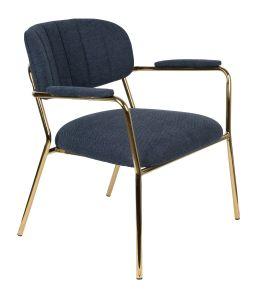 Jolein Lounge Armchair - Gold/Dark Blue