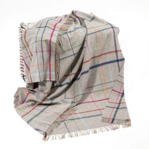Merino Lambswool Throw in Grey with Multicolour Window Pane