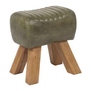 Lery Stool Green Buff Leather/Wood