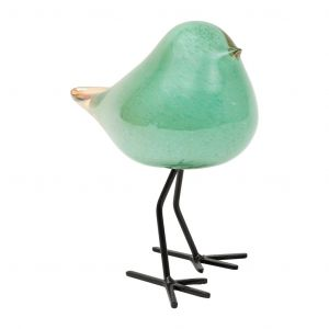 Decorative Sparrow Serin Sea Green Glass