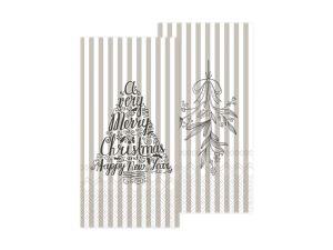 Napkin with mistletoe and Christmas tree