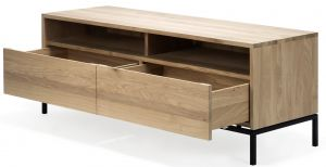 Oak Ligna TV Cupboard - 2 Drawers - Black Metal Legs