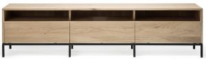 Oak Ligna TV Cupboard - 3 Drawers - Black Metal Legs