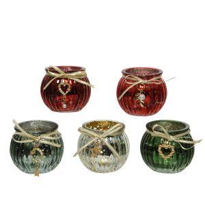 Glass Tealight Holder - set of 5