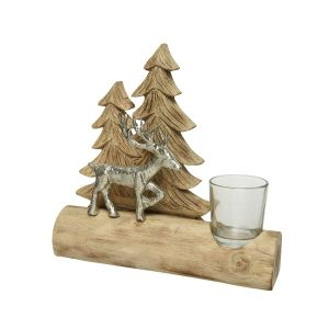 Christmas Tealightholder with Deer and Trees