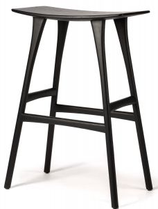 Oak Osso Black Bar stool - Varnished