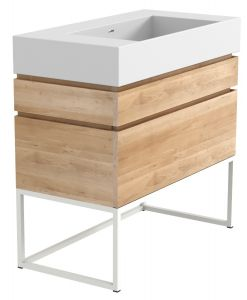 Oak Layers Solid Surface Top - Integrated Washbasins