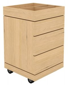 Oak Dressing Unit on Wheels - 3 Drawers - Varnished