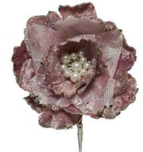Velvet  Pink clip on flower with pearls