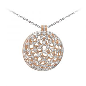 Silver & Rose Gold Domed Pendant