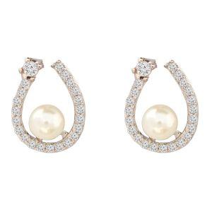 White Open Pearl Center Earrings