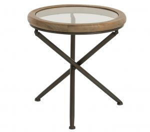 Table Round Wood/Glass Brown
