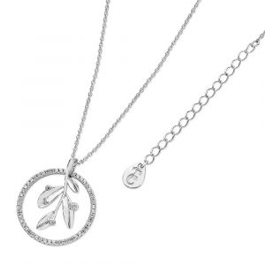 Silver Floating Leaf In Circle Pendant