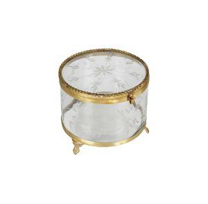 Jewels Jewellery Box Metal/Glass Brass