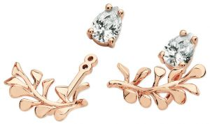 Rose Gold Wrap Around Diamante Leaf Earrings
