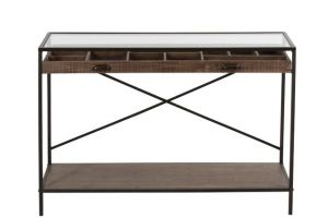 Harry Console Drawer Divide Wood/Metal Brown