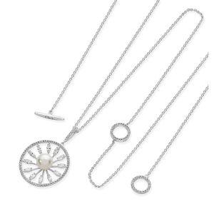 Silver Circle Star Cz Pearl Pendant