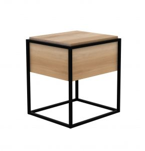 Oak Monolit Bedside Table 1DRW - Black