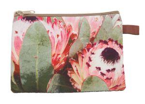 Makeup Bag Pink Flower Sand  Large