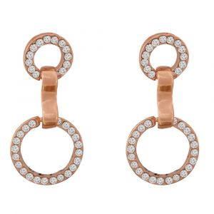 Rose Gold Round Drop Earrings