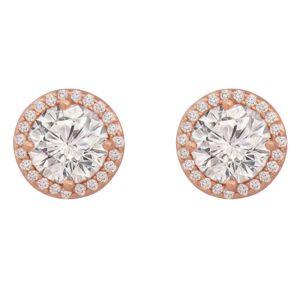 Simple Rose Gold Diamond Earrings