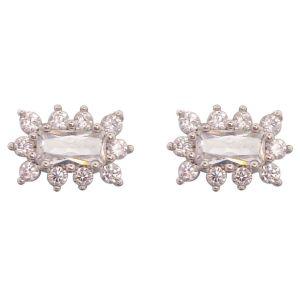 White Baguette Center Earrings