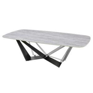 Basilico Calco Grigo Ceramic Table D-End Powder Coated W Frame