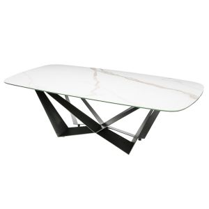 Basilico Carrara White Ceramic Table D-End Powder Coated W Frame
