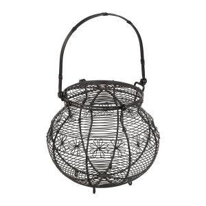 Basket Floral Grey Iron