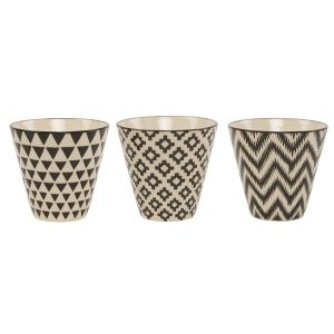 Set of Three Mini Black Geo Planters