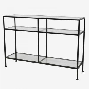 Black Iron Console 3 Glass Shelves