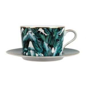 Breakfast Mug Jungle in Gold and Emerald