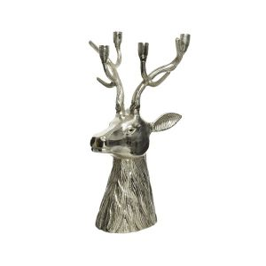 Candlehholder Deer With Antlers Silver