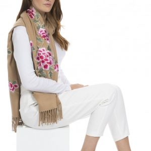 Cashmere Blend Embroidery Wrap Beige
