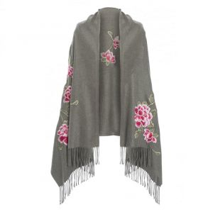 Cashmere Blend Embroidery Wrap Grey