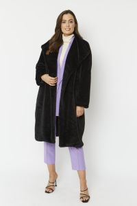 Cashmere Faux Fur Coat Oversized Black
