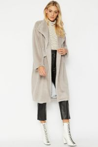 Cashmere Faux Fur Coat Oversized Light Grey