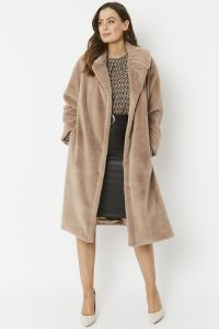 Cashmere Faux Fur Coat Light Mocha
