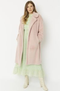 Cashmere Faux Fur Coat Light Pink