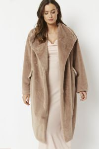 Cashmere Faux Fur Coat Oversized Light Mocha