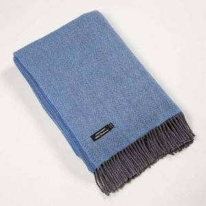 Cashmere Throw Blue Herringbone 136x180