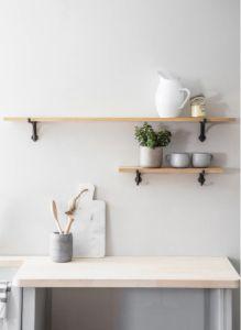 Oak & Cast Iron Brackets Shelf Large