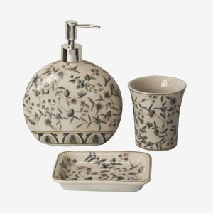 Ceramic S/3 For Bathroom With Flowers