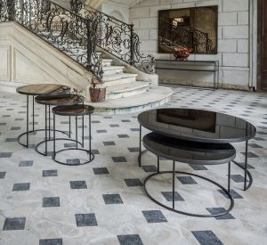 Charcoal - Heavy Aged Mirror - Round Nesting Coffee Table Set
