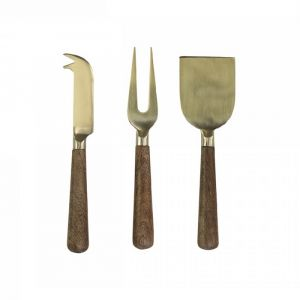 Cheeseknives With Wooden Handle S/3