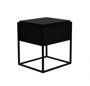 Oak Monolit Bedside Table 1DRW - Night Black