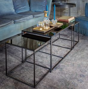 Charcoal Mirror Rectangle Coffee Table S/3