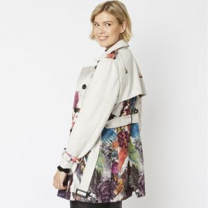 Digital Print Faux Suede Trench Coat Cream