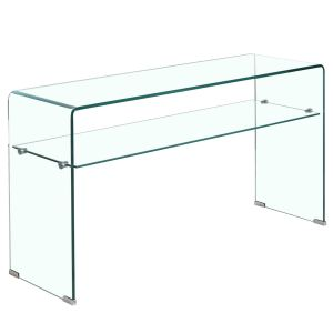 Elena Console Table With Shelf Clear Glass