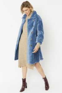 Faux Shearling Coat Blue